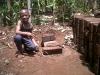 Jonas with some bricks they made.